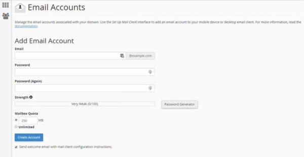 Điền thông tin vào mẫu để tạo tài khoản email