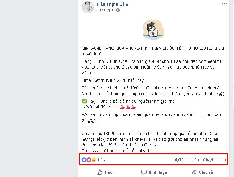 Minigame Comment liên tiếp - [Tổng hợp] 20 Minigame cho chị em bán hàng mùa sale cuối năm 2018