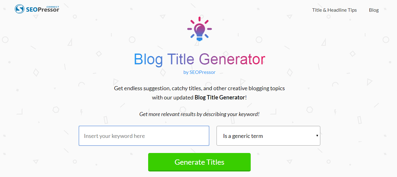 Create a blog title SEOPressor