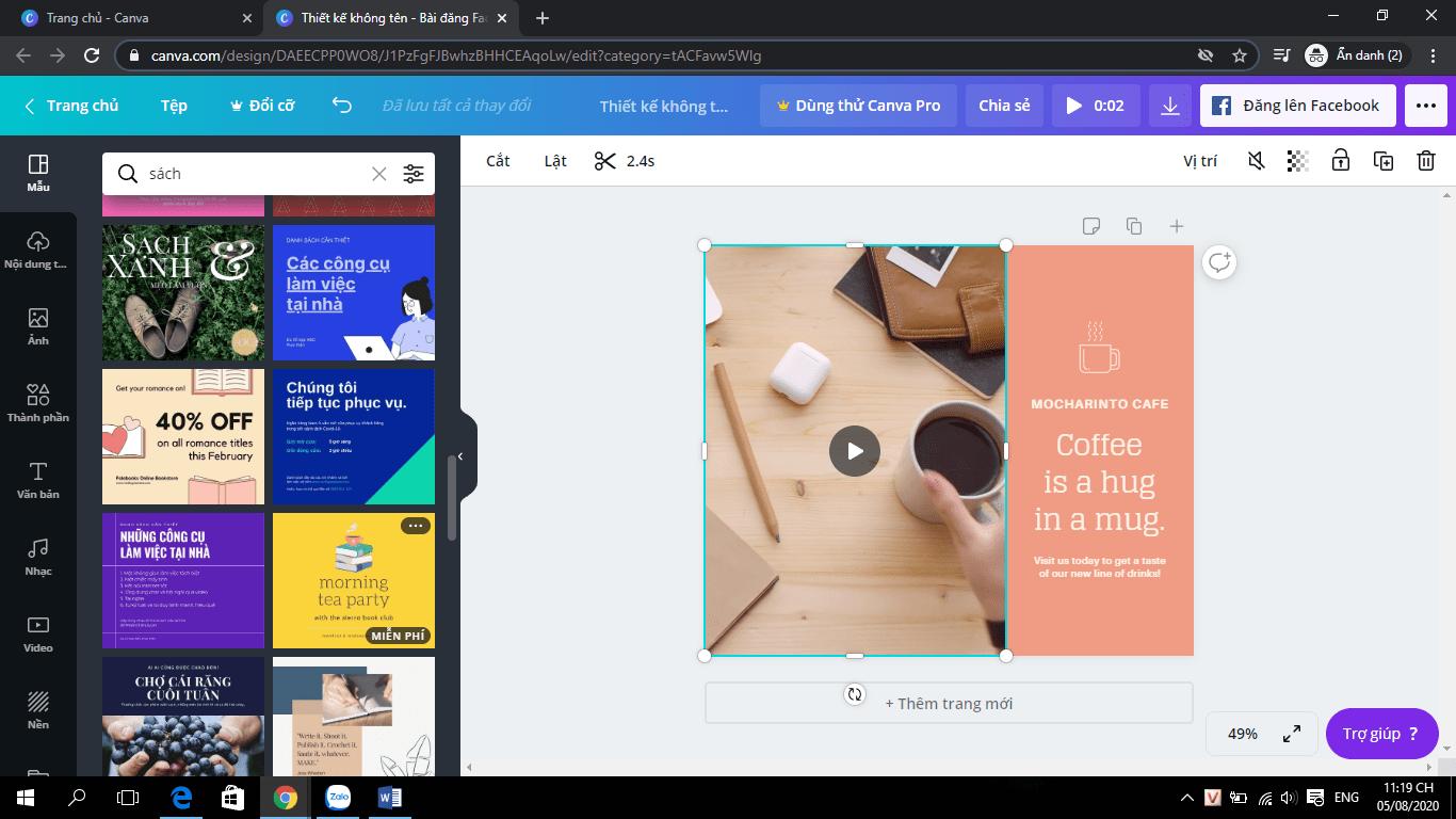 Nhấp chọn layout ưa thích.