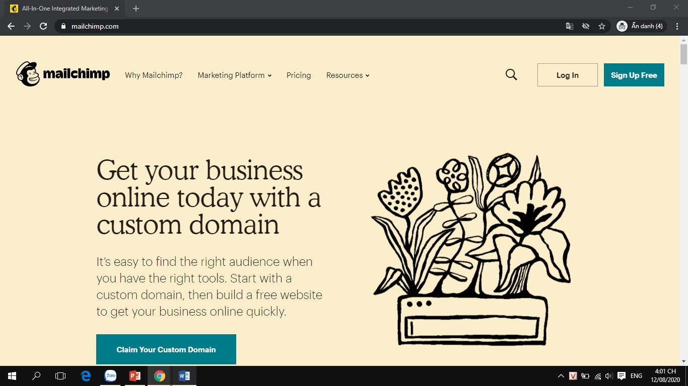 Giao diện trang chủ MailChimp