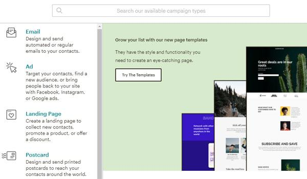 The interface of the feature to create email campaigns