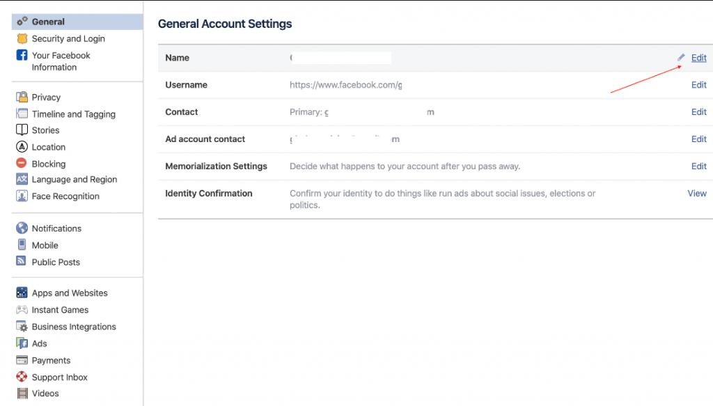 cách thay đổi tên nick facebook trên máy tính