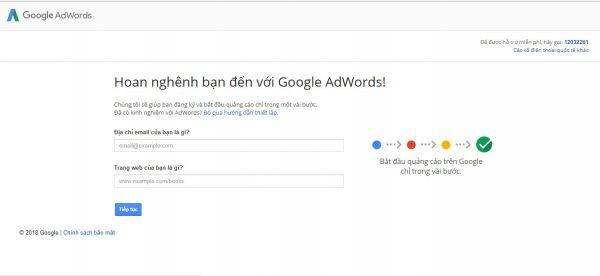 Bước 1: Hãy đăng ký 1 tài khoản google ads