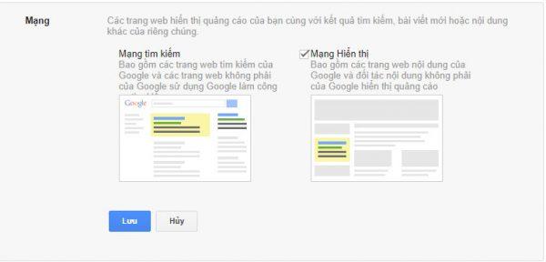 Bước 4: Chọn mạng lưới quảng cáo