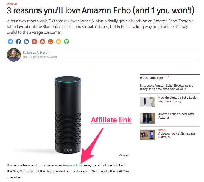 Ví dụ về một trường hợp đưa link tiếp thị vào bài viết trên blog