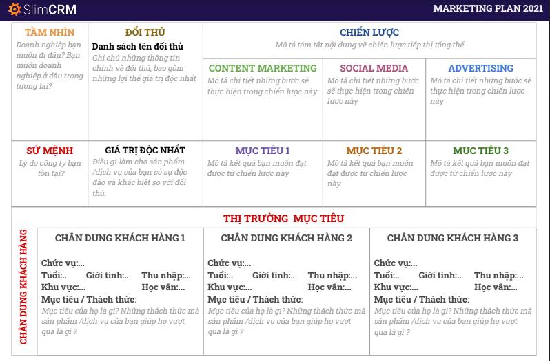 Mẫu lập kế hoạch kinh doanh trên excel Marketing Plan